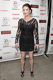 Catherine showed off her stunning figure while hitting the Drama Desk Awards in a beaded black dress.