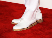 Chris Brown looked smooth in a pair of white wingtips with a unique cork sole.