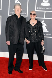 Rock legend Brian Wilson sported a black paisley blazer at the 2013 Grammy Awards.