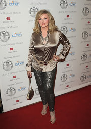 Morgan Fairchild paired sparkly leggings with a gold button-down for a totally dazzling look during the Women's Guild Cedars-Sinai Gala.