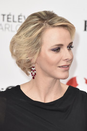 Charlene Wittstock accessorized with a beautiful pair of ruby and diamond chandelier earrings.