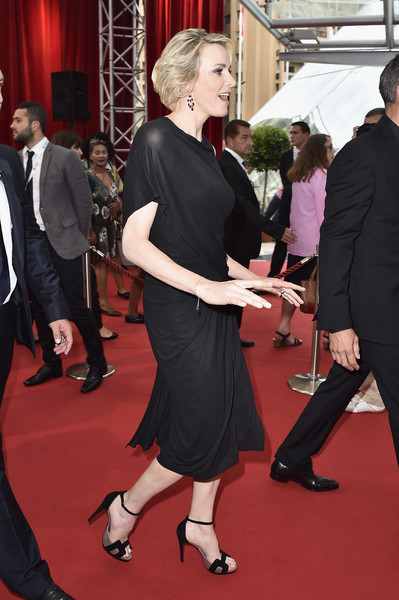 Charlene Wittstock was classic and sophisticated in a draped LBD during day 1 of the Monte Carlo TV Festival.