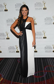 Sabrina Soto chose a black-and-white column-style dress for her red carpet look at the New York Emmy Awards.