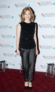 Holliday Grainger wore a pair of dotted satin pants well at the 'Great Expectations' photocall.