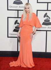 Natasha Bedingfield went for vintage elegance at the Grammys in a coral Christian Siriano evening dress.