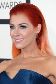 Bonnie McKee styled her trademark orange hair into a simple yet elegant slicked-back 'do for the Grammys.