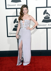 Anna Kendrick looked daring yet elegant at the Grammys in a light gray Azzaro strapless gown with an embellished bodice and peekaboo detailing.