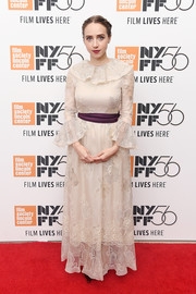 Zoe Kazan was demure in a nude Valentino Couture lace gown with a ruffle neckline and cuffs at the New York Film Festival screening of 'The Ballad of Buster Scruggs.'