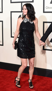 Courteney Cox looked cute in her Marc Jacobs sequined LBD during the Grammys.