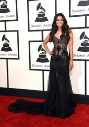 Tracey Edmonds looked seductive at the Grammys in a sheer black corset gown.