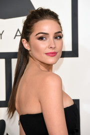 Olivia Culpo opted for an edgy ponytail when she attended the Grammys.