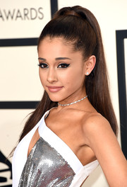 Ariana Grande attended the Grammys rocking her signature high ponytail.