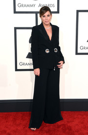 Melissa Rivers opted for a black wide-leg pantsuit by Roberto Cavalli when she attended the Grammys.