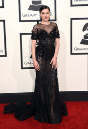Jessie J was in vampy princess mode in a sheer, beaded black gown by Ralph & Russo Couture during the Grammys.