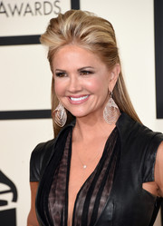 Nancy O'Dell was edgy-glam at the Grammys wearing this half-up pompadour.