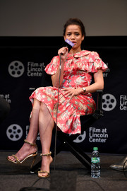 Gugu Mbatha-Raw finished off her look with chic gold heels.