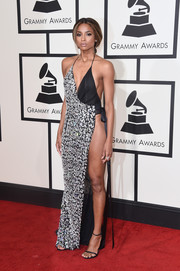 Ciara displayed an eye-popping amount of skin in this embellished halter gown by Alexandre Vauthier Couture during the Grammys.