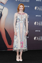 Eleanor Tomlinson was whimsical-chic in an embroidered midi dress by Temperley London at the 2018 Monte Carlo TV Festival.