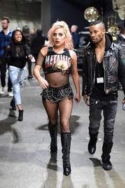 Lady Gaga amped up the edge factor with a pair of grommet-and-chain-embellished hot pants.