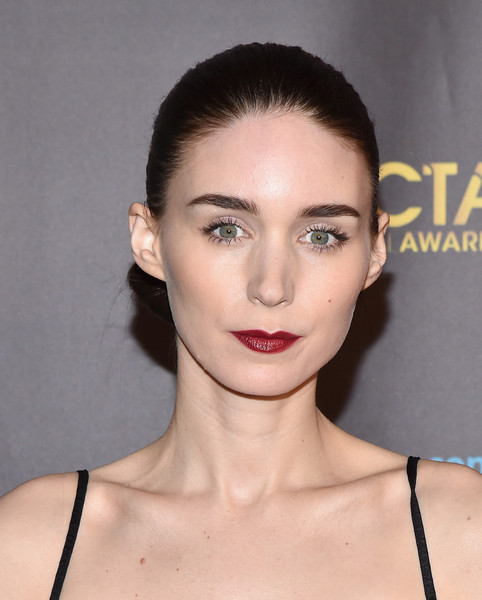 Rooney Mara injected a pop of color with a sweep of red lipstick.