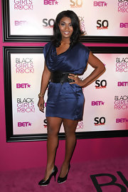 Toccara Jones showed off her legs in a satin mini dress with a draped cowl neckline at the 5th Black Girls Rock Awards.