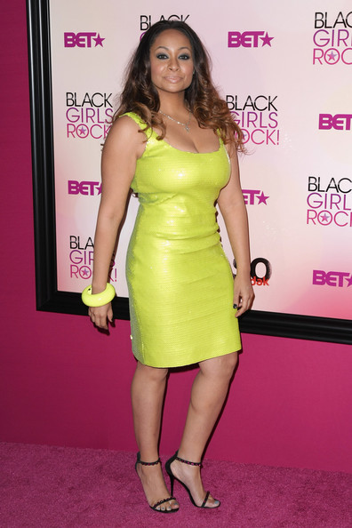 Raven-Symone was guaranteed to stand out in this neon sequined tank dress.