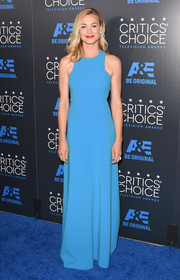 Yvonne Strahovski brought a vibrant pop of color to the Critics' Choice Television Awards with this azure racer-neckline gown by Michael Kors.