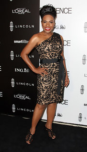 Sheryl Lee Ralph wore this single-shoulder filigree dress to the Essence Luncheon.
