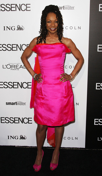 Siedah Garett wore this hot pink number with a floating train to the Essence Luncheon.