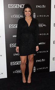 Jordin Sparks wore this glittering black faux-wrap dress to the Essence Luncheon.
