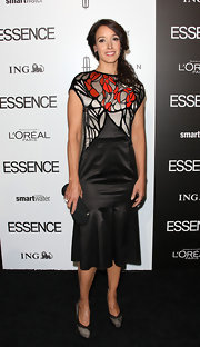 Jennifer Beals wore an Art Nouveau patterned dress to the Essence Luncheon.