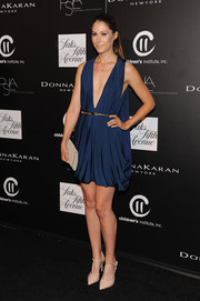 Amanda Crew was sexy-glam at the PSLA Autumn Party in a draped blue Haney Prêt-à-Couture cocktail dress with a navel-grazing neckline.