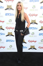 Laura Wylde topped off her rock 'n' roll look at the Revolver Golden Gods Awards with a draped black halter top.