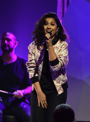 Alessia Cara donned a cute floral bomber jacket for her performance at the Streamy Awards.
