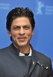 Shahrukh Khan sported a tousled gelled hairstyle at the 'My Name is Khan' photocall.