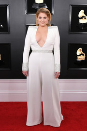 Meghan Trainor was '70s-glam in a plunging, wide-leg jumpsuit by Christian Siriano at the 2019 Grammys.