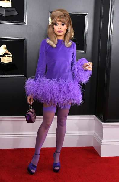 More Pics of Andra Day Platform Sandals (1 of 8) - Andra Day Lookbook - StyleBistro [clothing,purple,blue,electric blue,cobalt blue,fashion,cocktail dress,carpet,violet,dress,arrivals,andra day,grammy awards,staples center,los angeles,california,annual grammy awards]