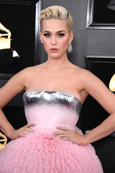 More Pics of Katy Perry Strapless Dress (5 of 9) - Dresses & Skirts Lookbook - StyleBistro [dress,clothing,hair,pink,cocktail dress,strapless dress,gown,fashion,blond,shoulder,arrivals,katy perry,grammy awards,staples center,los angeles,california,annual grammy awards]