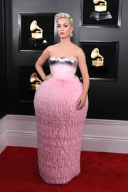 Katy Perry wowed in this pink and silver confection by Balmain at the 2019 Grammys.