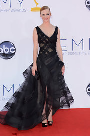 January Jones had a goth edge in her structured black gown at the Emmy Awards.
