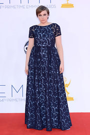 Lena Dunham brought a lot of lace to the red carpet in this blue number!