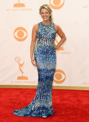 Deborah Norville sparkled in a silver and blue dress at the 2013 Emmy Awards.