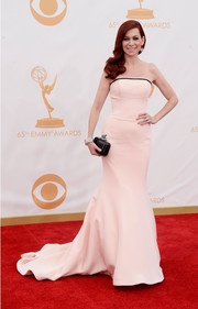 Carrie Preston stunned in a light blush-hued strapless mermaid gown.