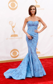 Giulian Rancic stunned in a light blue embroidered mermaid gown on the red carpet of the 2013 Emmy Awards.
