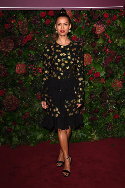 More Pics of Gugu Mbatha-Raw Strappy Sandals (1 of 1) - Gugu Mbatha-Raw Lookbook - StyleBistro [clothing,carpet,dress,red carpet,fashion,flooring,shoulder,formal wear,cocktail dress,footwear,red carpet arrivals,gugu mbatha-raw,evening standard theatre awards,london coliseum,england]