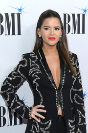 Maren Morris sported a diamond ring for added sparkle to her embellished suit at the 2019 BMI Country Awards.