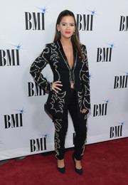 Maren Morris went the menswear-glam route in an embellished black pantsuit at the 2019 BMI Country Awards.