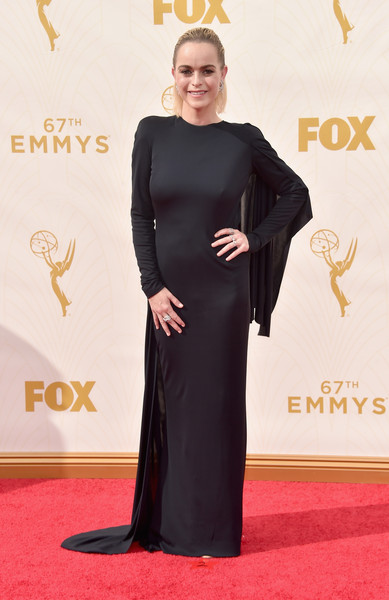 Taryn Manning went majorly goth in a caped black column dress by Rubin Singer at the Emmy Awards.