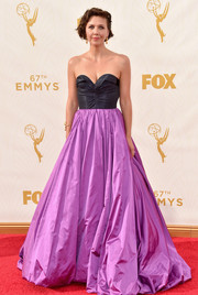 Maggie Gyllenhaal captivated in a two-tone strapless ball gown by Oscar de la Renta at the Emmy Awards.