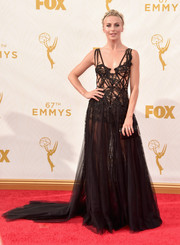 Julianne Hough was goth queen of the night in this see-through black corset gown by Marchesa during the Emmy Awards.